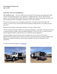 FOR IMMEDIATE RELEASE Jan. 12, 2016 Quail Valley VFD receives $200,000 grant