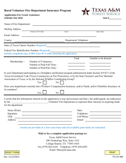 Rural Volunteer Fire Department Insurance Program Application For Grant Assistance