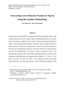 Forecasting Gross Domestic Product In Nigeria Using Box-Jenkins Methodology Abstract