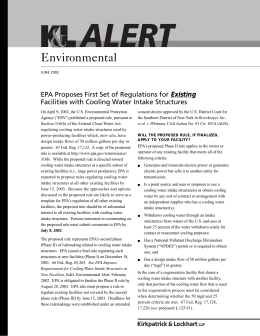 Environmental EPA Proposes First Set of Regulations for Existing