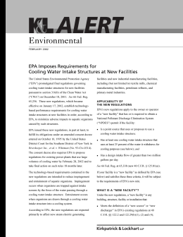 Environmental EPA Imposes Requirements for Cooling Water Intake Structures at New Facilities