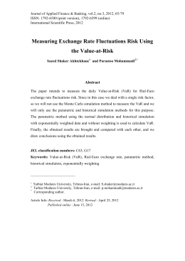 Measuring Exchange Rate Fluctuations Risk Using the Value-at-Risk Abstract