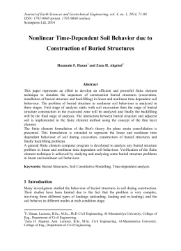 Nonlinear Time-Dependent Soil Behavior due to Construction of Buried Structures Abstract