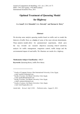 Optimal Treatment of Queueing Model for Highway Abstract