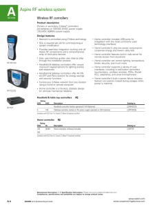 A Aspire RF wireless system Wireless RF controllers Product description