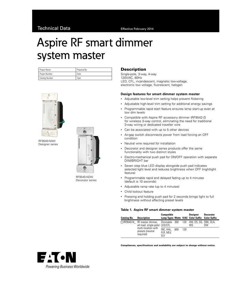 aspire rf smart dimmer system master technical data description rh studylib net Touch Dimmer Wiring-Diagram Light Dimmer Switch