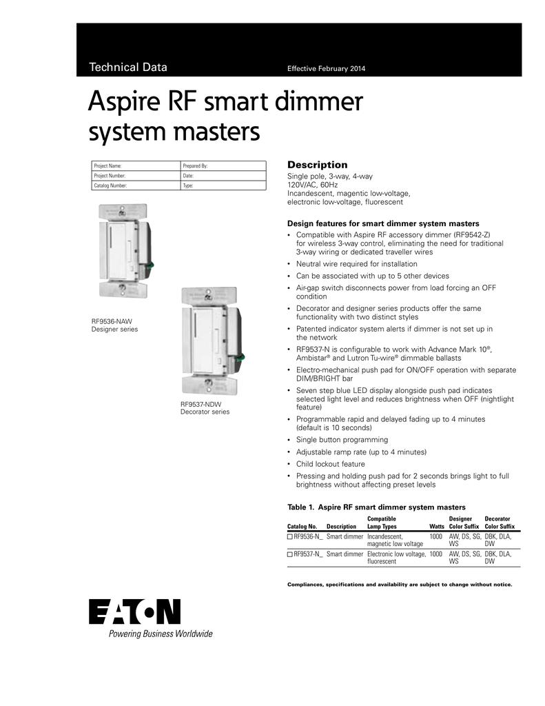 aspire rf smart dimmer system masters technical data description rh studylib net Lutron Dimmer Wiring-Diagram Lutron Dimmer Wiring-Diagram