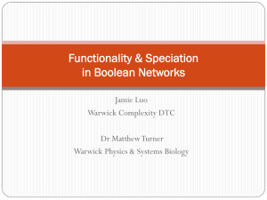 Functionality & Speciation in Boolean Networks Jamie Luo Warwick Complexity DTC
