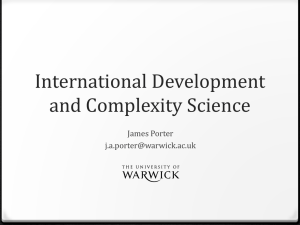 International Development and Complexity Science James Porter