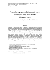 Forecasting aggregate and disaggregate energy consumption using arima models: A literature survey