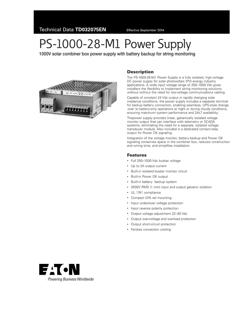 Ps 1000 28 M1 Power Supply Td032075en Description Battery Backup Circuit