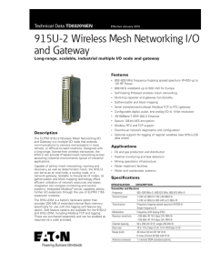 915U-2 Wireless Mesh Networking I/O and Gateway Features