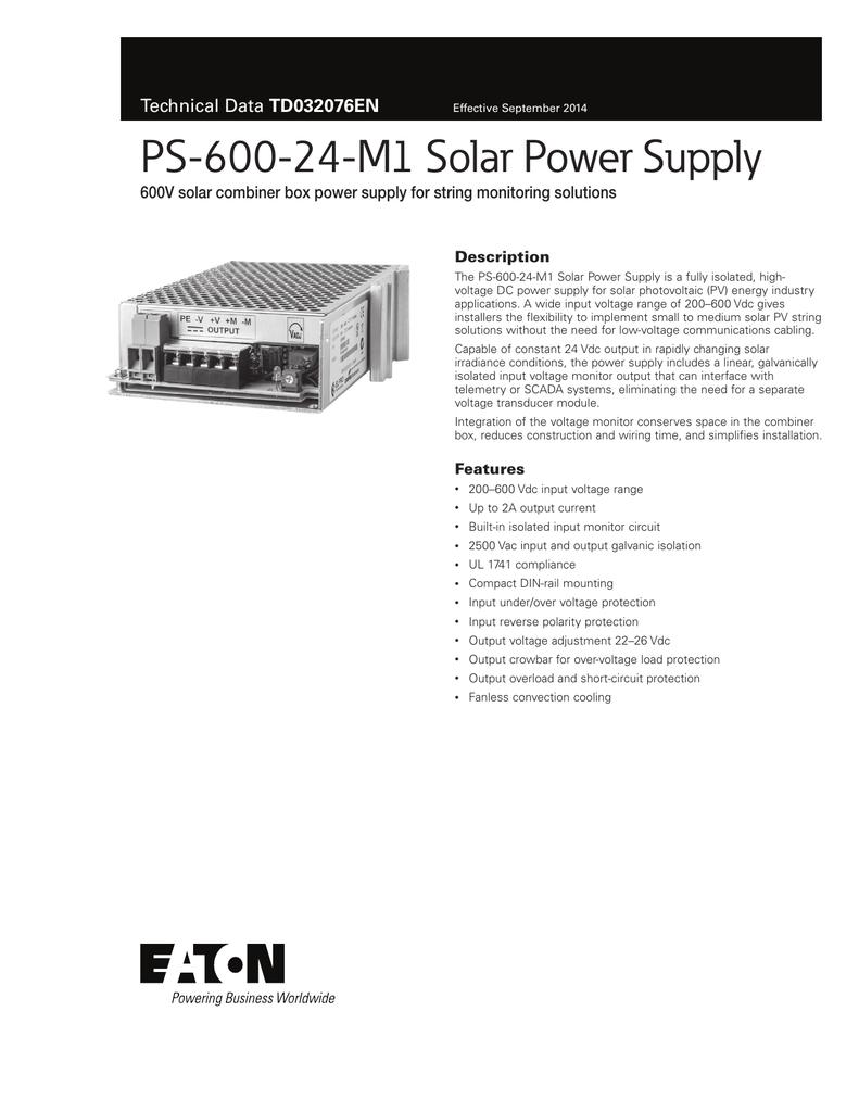 PS-600-24-M1 Solar Power Supply TD032076EN Description