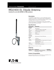 MD2400-EL Dipole Antenna TD032053EN Antenna for use with ELPRO 2.4 GHz products Description