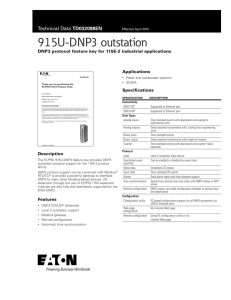 915U-DNP3 outstation DNP3 protocol feature key for 115E-2 industrial applications Applications Specifications