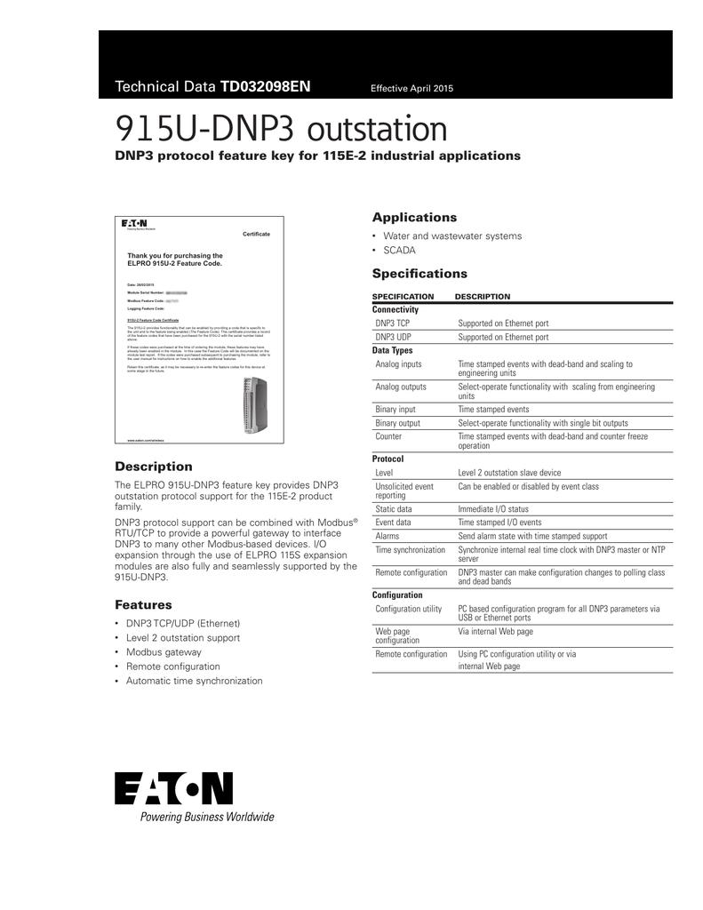 915U-DNP3 outstation DNP3 protocol feature key for 115E-2