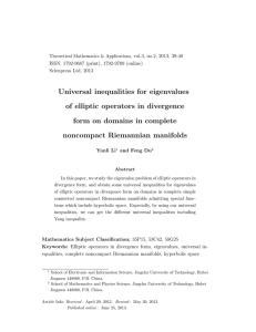 Universal inequalities for eigenvalues of elliptic operators in divergence noncompact Riemannian manifolds