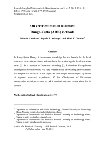 On error estimation in almost Runge-Kutta (ARK) methods Abstract