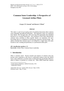 Common Sense Leadership: A Perspective of Licensed Airline Pilots Abstract