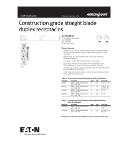Construction grade straight blade duplex receptacles Technical Data Description