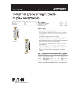 Industrial grade straight blade duplex receptacles Technical Data Description