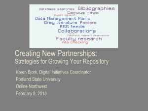 Creating New Partnerships: Strategies for Growing Your Repository