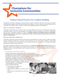 Evidence-Based Practices for Coalition Building