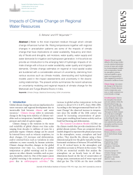 Reviews Impacts of Climate Change on Regional Water Resources
