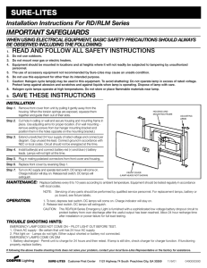 SURE-LITES IMPORTANT SAFEGUARDS Installation Instructions For RD/RLM Series