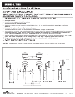 SURE-LITES IMPORTANT SAFEGUARDS Installation Instructions For XR Series