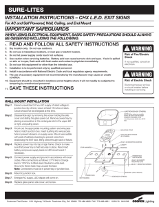 SURE-LITES IMPORTANT SAFEGUARDS INSTALLATION INSTRUCTIONS – CHX L.E.D. EXIT SIGNS
