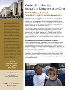 Vanderbilt University Master's in Education of the Deaf NEW SPECIALTY TRACK: