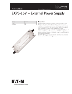 EXPS-15V – External Power Supply Technical Data Overview