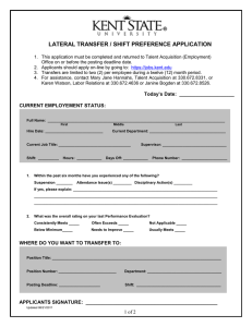 LATERAL TRANSFER / SHIFT PREFERENCE APPLICATION