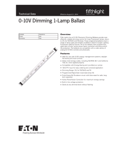 0-10V Dimming 1-Lamp Ballast Technical Data Overview
