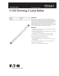 0-10V Dimming 2-Lamp Ballast Technical Data Overview