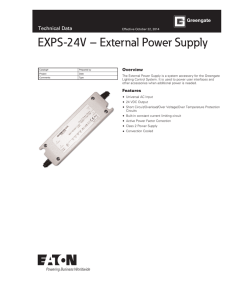 EXPS-24V – External Power Supply Technical Data Overview