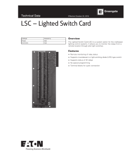 LSC – Lighted Switch Card Technical Data Overview