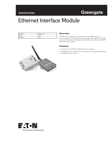 Ethernet Interface Module Greengate Technical Data Overview