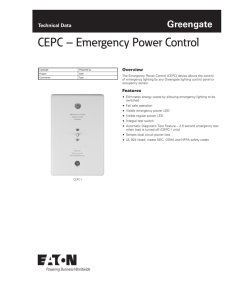 CEPC – Emergency Power Control Greengate Technical Data Overview