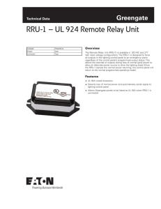 RRU-1 – UL 924 Remote Relay Unit Greengate Technical Data Overview