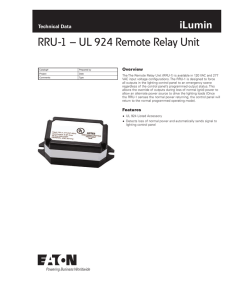 RRU-1 – UL 924 Remote Relay Unit iLumin Technical Data Overview