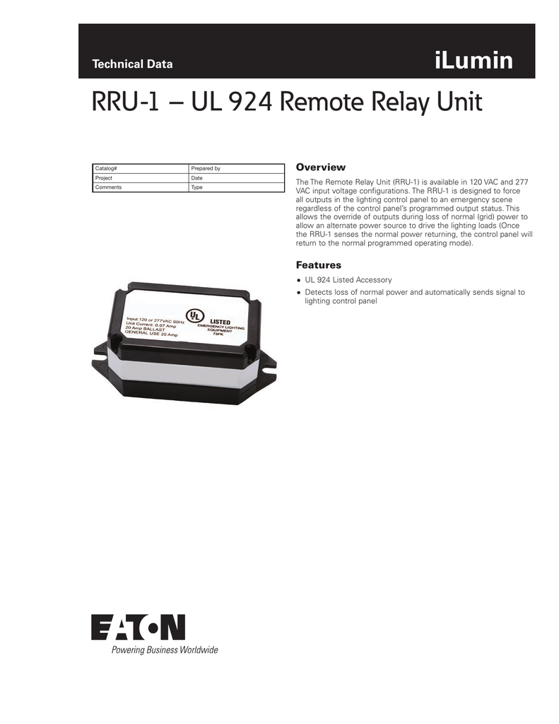 RRU-1 – UL 924 Remote Relay Unit iLumin Technical Data Overview on class 1 division diagram, dirt and plant diagram, ul 924 transfer relay, ul 1008 transfer switch wiring, ul 924 bypass relay, conduit connection diagram, sign emergency light installation diagram,