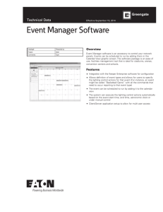 Event Manager Software Technical Data Overview