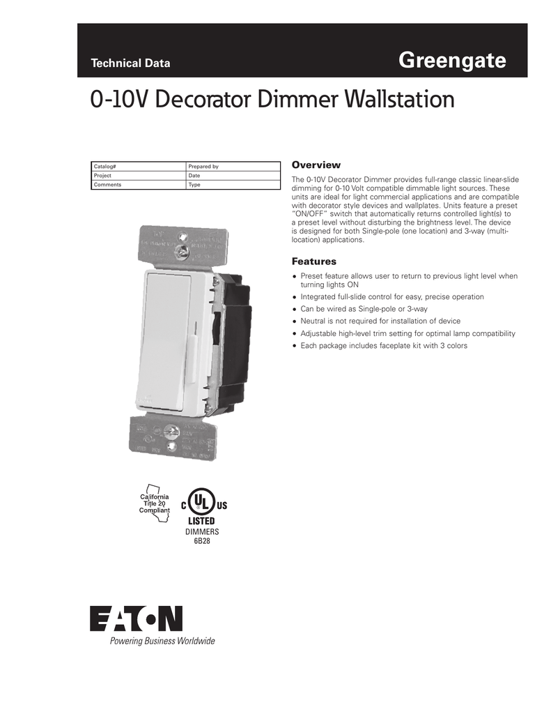 0 10v Decorator Dimmer Wallstation Greengate Technical Data Overview 3 Way Wiring Single Pole Diagram For A As