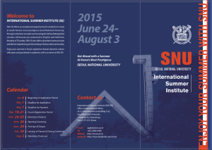 2015 June 24- Welcome to INTERNATIONAL SUMMER INSTITUTE (ISI)