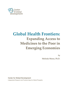 Global Health Frontiers: Expanding Access to Medicines to the Poor in Emerging Economies