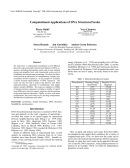 Computational Applications of DNA Structural Scales Pierre Baldi Yves Chauvin Søren Brunak