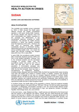 SUDAN HEALTH ACTION IN CRISES RESOURCE MOBILIZATION FOR