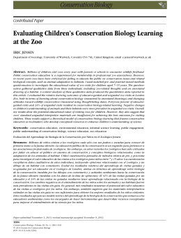 Evaluating Children's Conservation Biology Learning at the Zoo Contributed Paper ERIC JENSEN
